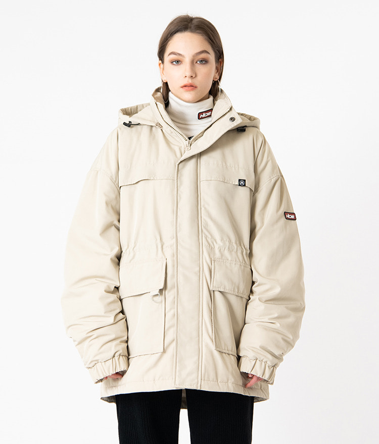 HIDELogo Patch Hooded Beige Parka