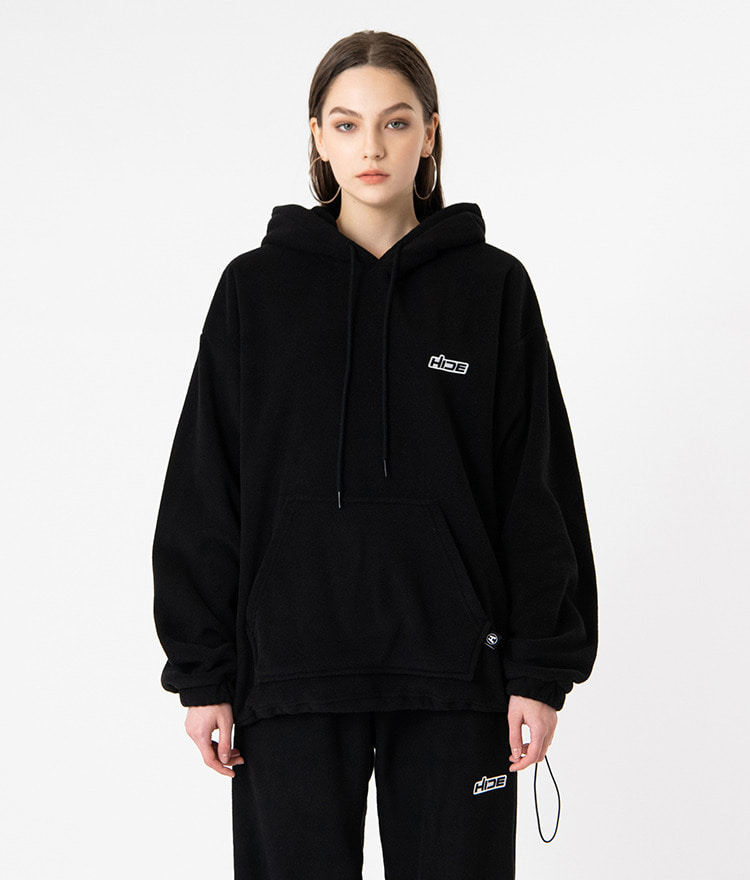 HIDECord-Locked Hem Black Hoodie