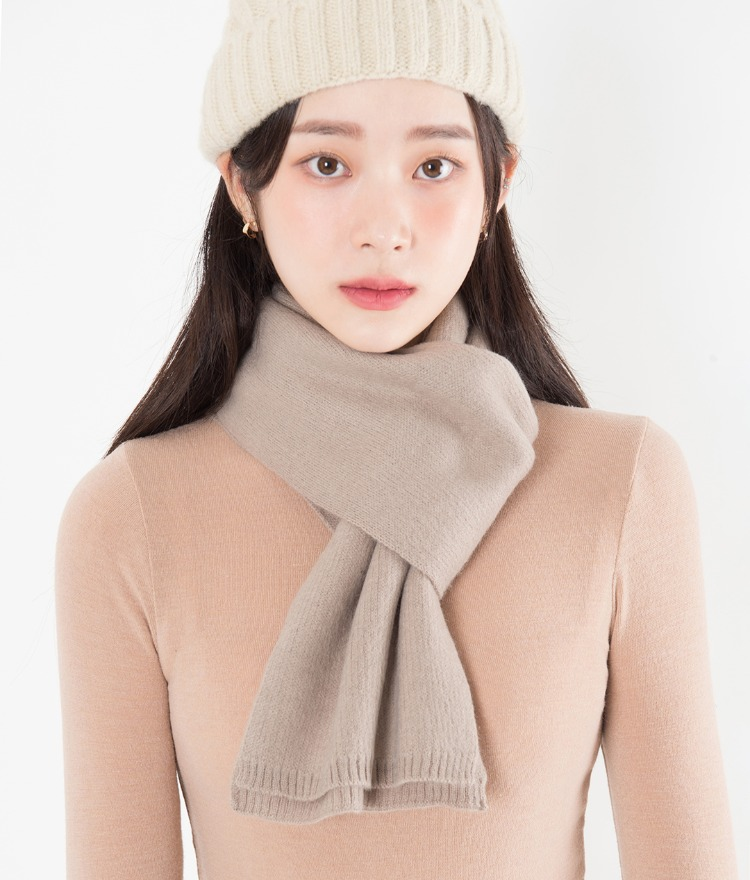 Soft Ribbed Edge Knit Scarf