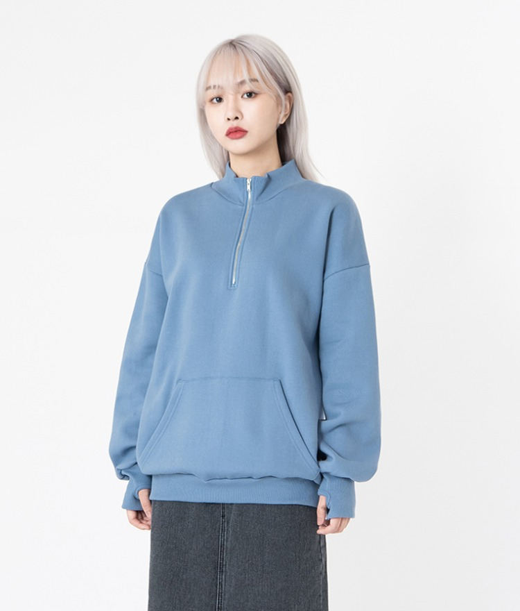 NEVERM!NDQuarter Zip High Neck Top