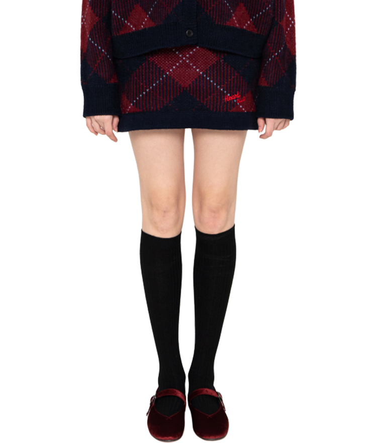 HEART CLUBWine-Toned Check Knit Skirt