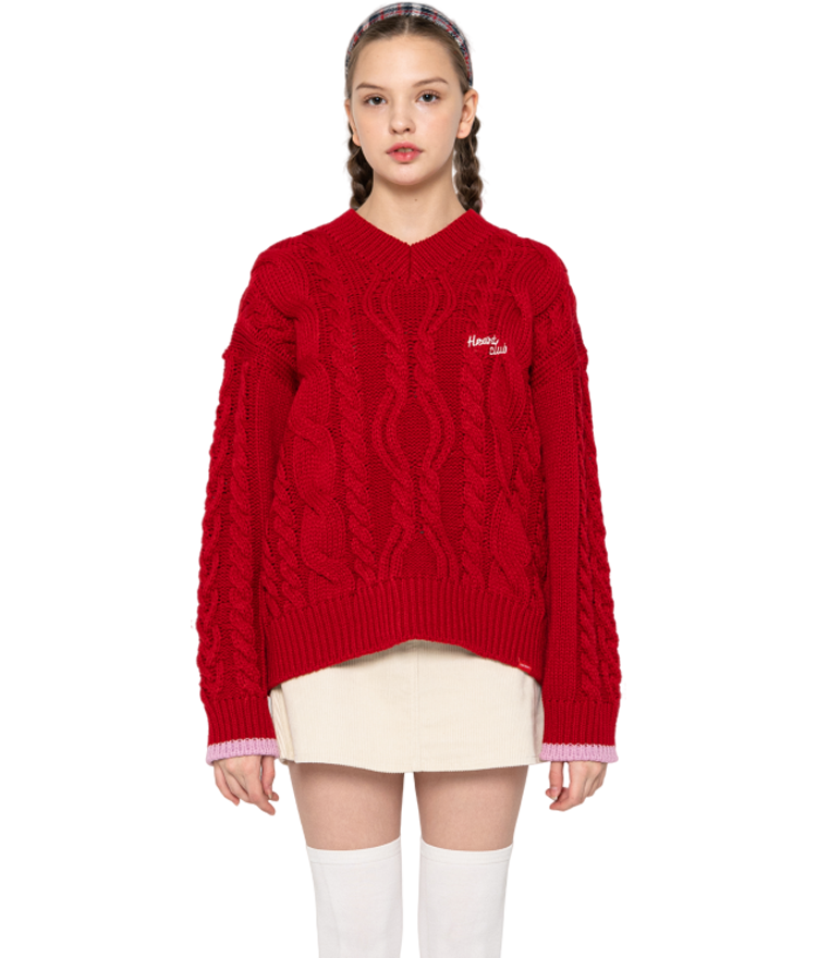 HEART CLUBRed Chunky Knit Top