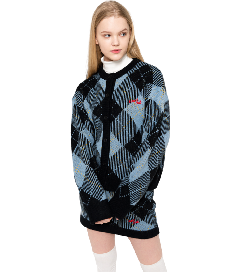 HEART CLUBSky Blue Check Knit Cardigan