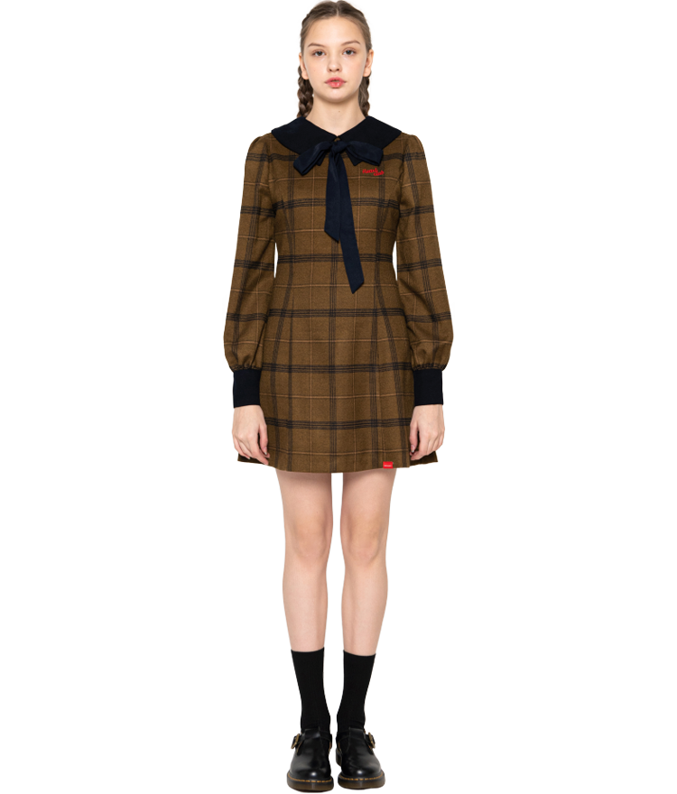 HEART CLUBRibbon Accent Check Khaki Dress