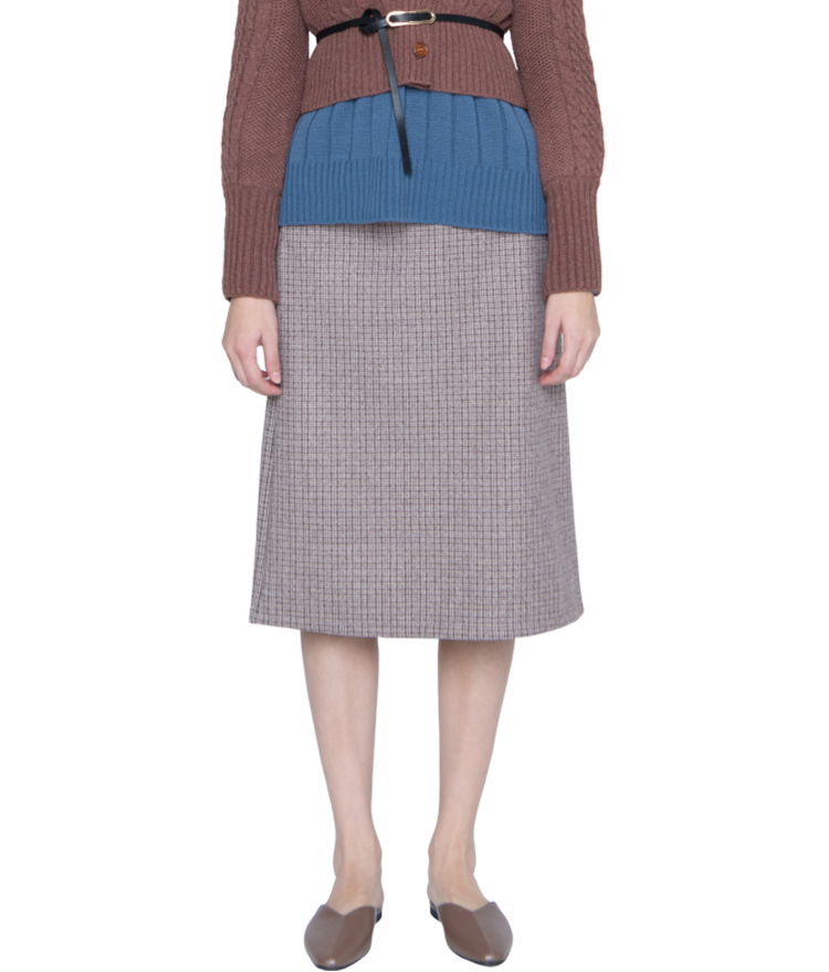 Belted Check Midi Skirt