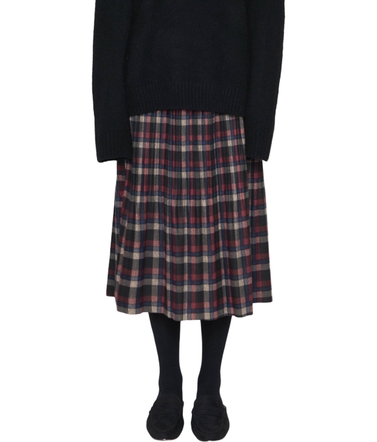 Fleece-Lined Check A-Line Skirt