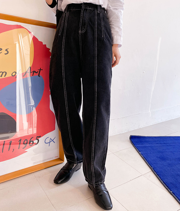 ESSAYContrast Stitch Black Pants
